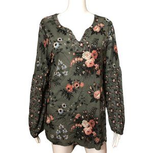 Style & Co Floral Poet Sleeve Top